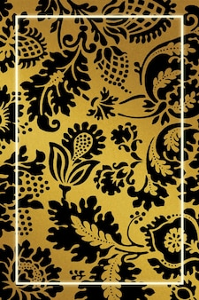 Remix de cadre de motif botanique doré à partir d'œuvres d'art de william morris