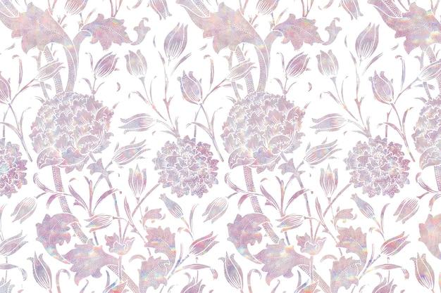 Remix de fond holographique de flore vintage d'après l'œuvre de william morris