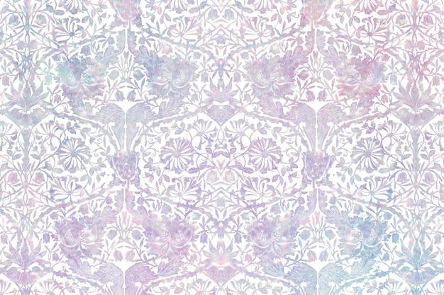 Remix De Motifs Holographiques Floraux Vintage D'après L'œuvre De William Morris Vecteur gratuit