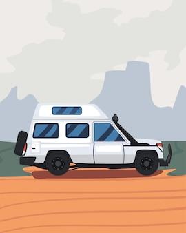 Remorque de camping blanc au paysage