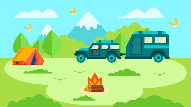 Remorque de camping-car dans la conception de cartes de voyage familial en forêt