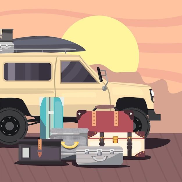 Remorque de camping-car avec des sacs au paysage