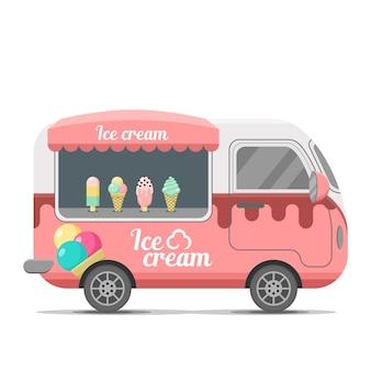 Remorque de caravane de nourriture de rue de crème glacée