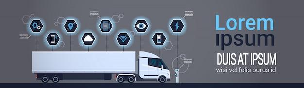 Remorque semi moderne de camion chargeant à l'ensemble de bannière horizontale de modèle de station de chargeur d'electic