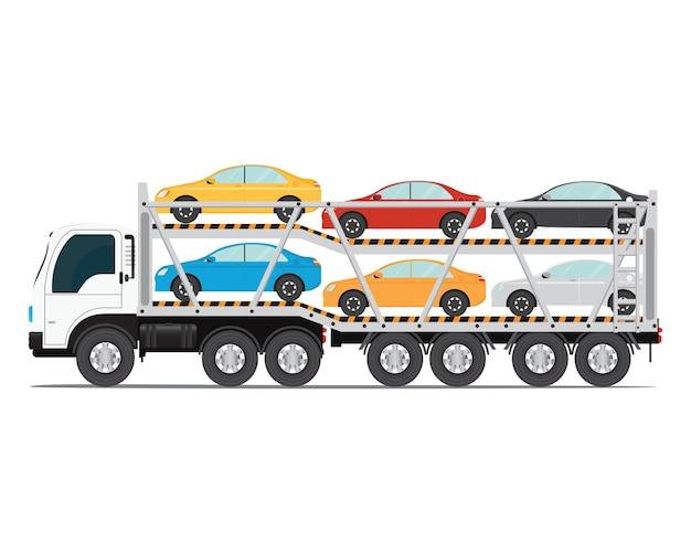 La remorque transporte les voitures avec une nouvelle auto.
