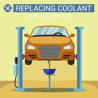 Remplacement du liquide de refroidissement. station service levée de voiture.