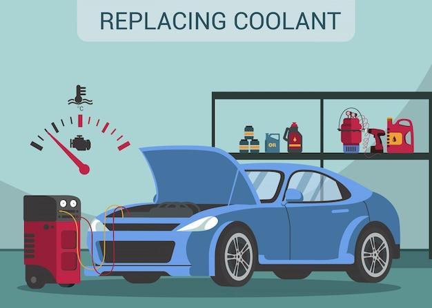 Remplacement du liquide de refroidissement. vidange. station service. service automobile. ouvrir le capot.