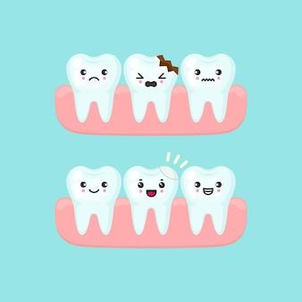 Remplissage dentaire sur un concept de stomatologie de dent cassée. illustration isolée de dents de dessin animé mignon