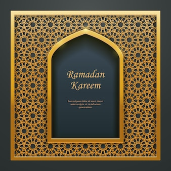 Remplissage de fenêtre de porte de mosquée de conception islamique de ramadan kareem, idéal pour la conception de bannière web de carte de voeux orientale.