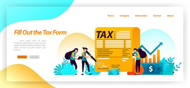 Remplissez le formulaire de paiement de facture d'impôt. déclarer les revenus annuels, les entreprises, la propriété d'actifs financiers. modèle web de page de destination