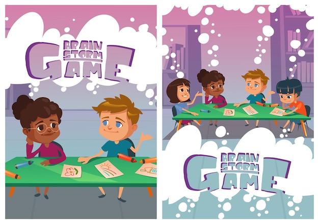 Remue-méninges sur les affiches de jeux avec des enfants qui réfléchissent