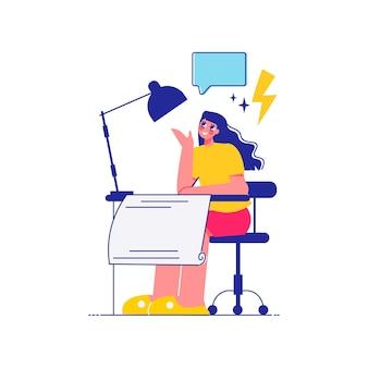 Remue-méninges sur la composition du travail d'équipe avec une femme assise avec une lampe et une feuille de projet avec une bulle de pensée et une illustration de boulon