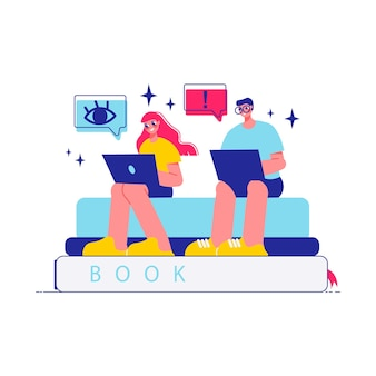 Remue-méninges sur la composition du travail d'équipe avec des personnages de femme et d'homme travaillant avec des ordinateurs portables assis sur une pile de livres illustration