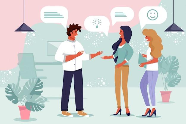 Remue-méninges d'équipe commerciale, échange de pensées