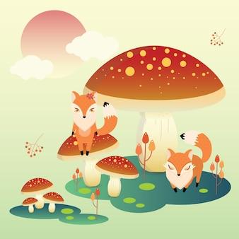 Renard et champignon géant