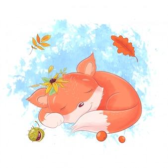 Renard de dessin animé mignon dort, automne, feuilles.