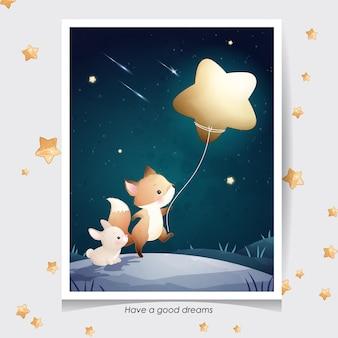 Renard de doodle mignon et petit lapin avec illustration aquarelle