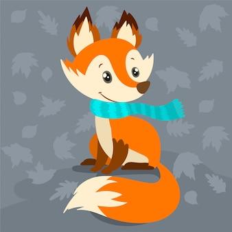 Renard drôle dans une écharpe tricotée