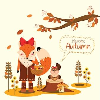 Renard et écureuil à l'automne