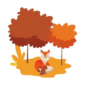Renard et écureuil dans un paysage naturel