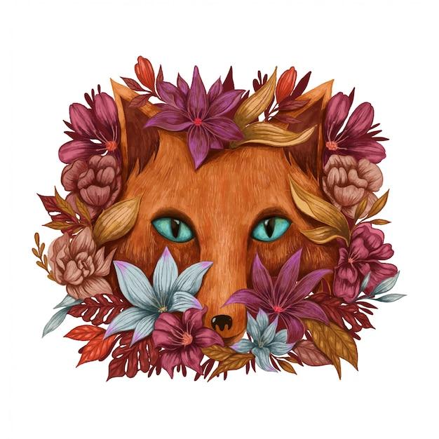 Renard en fleurs
