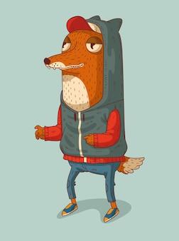 Le renard gai vêtu d'un sweat à capuche et d'une casquette est prêt à attraper quelque chose