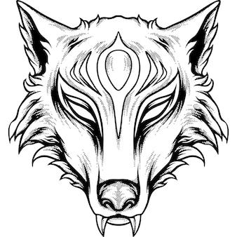 Renard kitsune tête silhouette