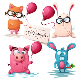 Renard, lapin, cochon - animaux mignons