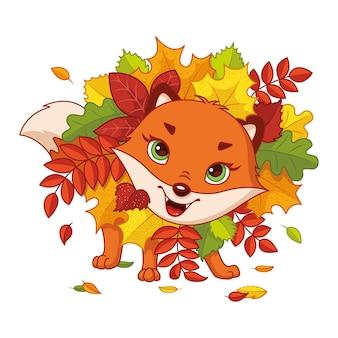 Renard ludique en automne laisse vector illustration de dessin animé