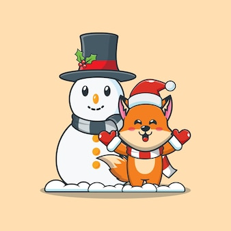 Renard mignon avec bonhomme de neige le jour de noël illustration de dessin animé mignon de noël