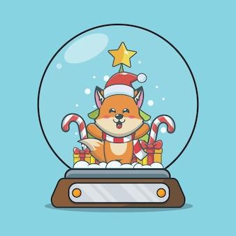 Renard mignon en boule à neige illustration de dessin animé mignon de noël