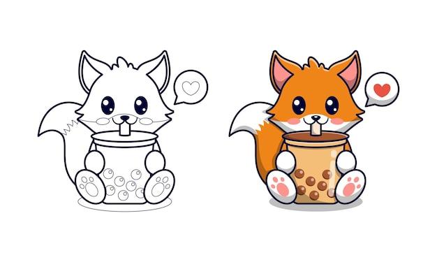 Renard mignon buvant du thé à bulles coloriage de dessin animé pour les enfants