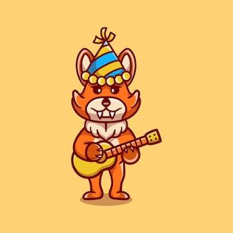 Renard mignon célébrant le nouvel an avec illustration de guitare