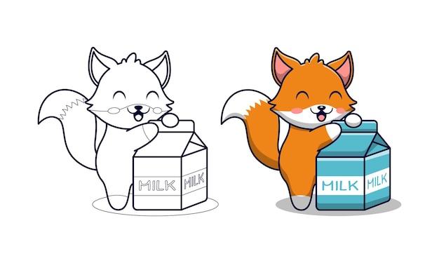 Renard mignon avec coloriage de dessin animé de lait pour les enfants