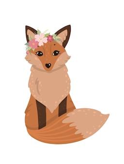 Renard mignon avec une couronne de fleurs.