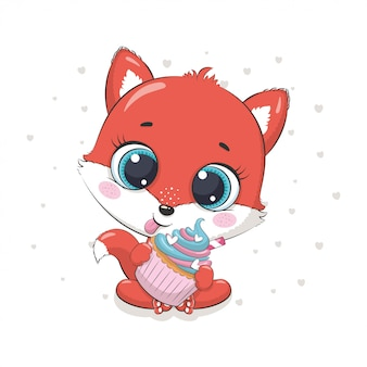 Renard mignon avec cupcake. illustration pour baby shower, carte de voeux, invitation à une fête, impression de t-shirt de vêtements de mode.