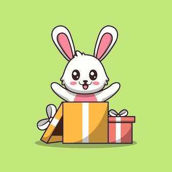 Renard mignon en illustration de dessin animé de boîte-cadeau