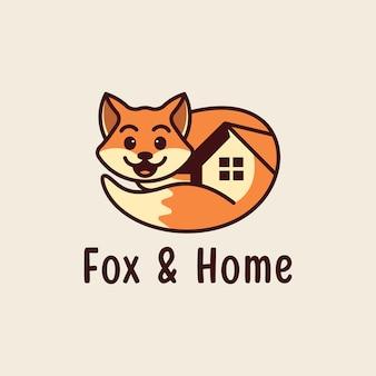 Renard mignon et logo à la maison