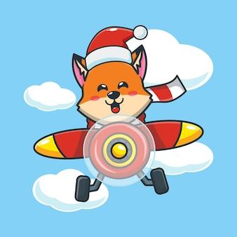 Renard mignon portant bonnet de noel voler avec avion le jour de noël illustration de dessin animé mignon de noël