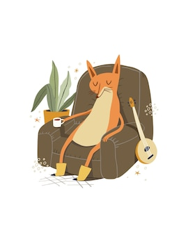 Renard mignon relaxant avec une tasse de café