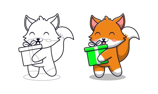 Renard mignon tenant des pages de coloriage de dessin animé de boîte-cadeau pour les enfants