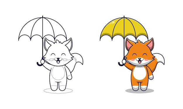 Renard mignon tenant un parapluie coloriage de dessin animé pour les enfants