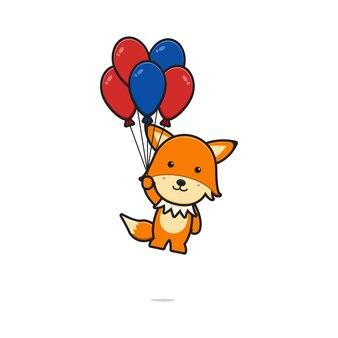 Renard mignon volant avec illustration vectorielle de ballon dessin animé icône. conception isolée sur blanc. style de dessin animé plat.