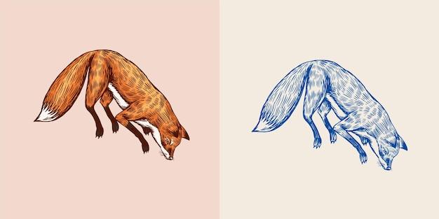 Renard planant animal rouge de la forêt sauvage sautant vers le haut concept de recherche de nourriture style vintage gravé dessiné à la main