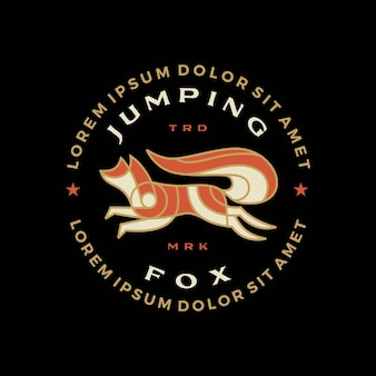 Renard sautant t shirt badge emblème vintage tee merch logo icône illustration vectorielle