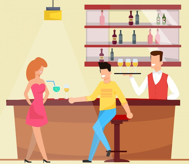Rencontre et bavarder au bar vector illustration.