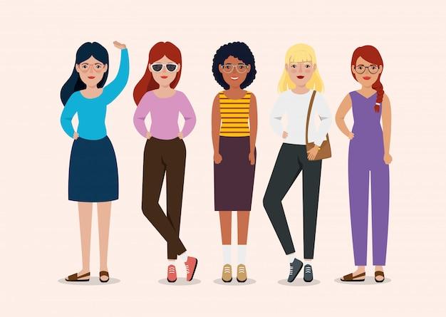 Rencontre de belles femmes debout personnage avatar