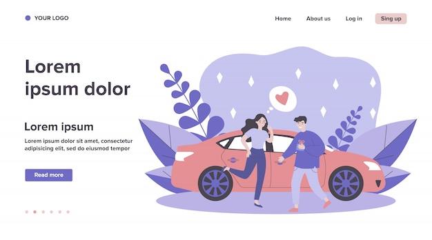 Rencontre de couple heureux en voiture