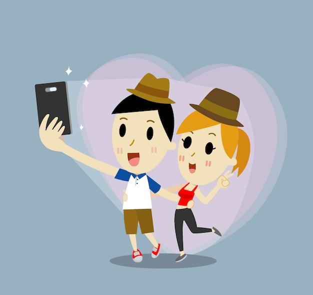 Rencontre dessin animé jeune couple heureux en amour prenant selfie autoportrait photo