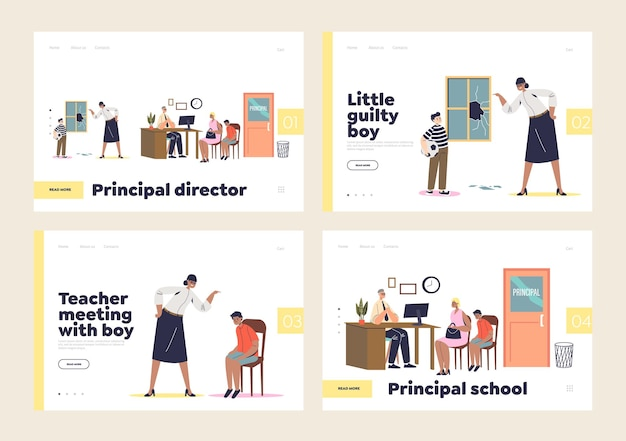 Rencontre avec l'enseignant et le directeur dans le concept de l'école